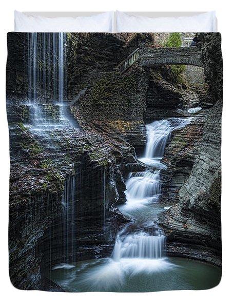 Watkins Glen Rainbow Falls Duvet Cover