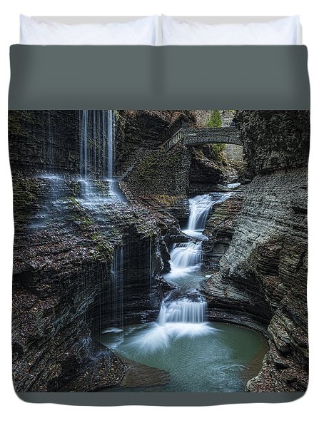 Watkins Glen Rainbow Falls Duvet Cover by Stephen Stookey
