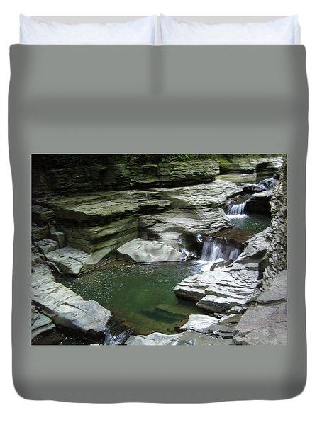 Duvet Cover featuring the photograph Watkins Glen State Park by John Schneider