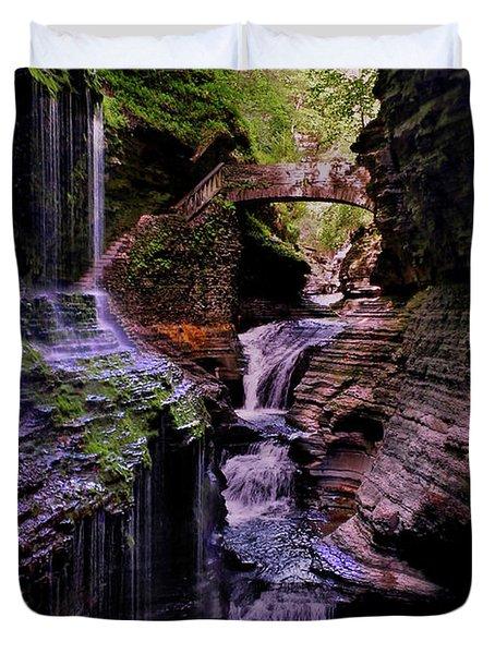 Watkins Glen State Park - Rainbow Falls 002 Duvet Cover by George Bostian