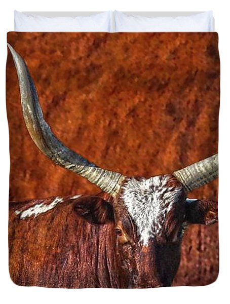 Watusi Blues In Rustic Red Duvet Cover