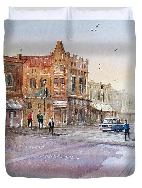 Waupaca - Main Street Duvet Cover by Ryan Radke