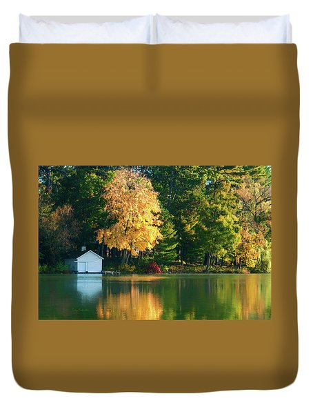 Waupaca Chain Boathouse Duvet Cover by Trey Foerster