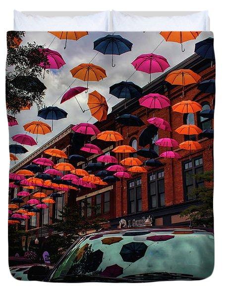 Wausau's Downtown Umbrellas Duvet Cover