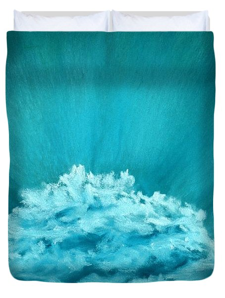 Duvet Cover featuring the painting Wave Cloud - Sky And Clouds Collection by Anastasiya Malakhova