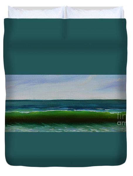 Duvet Cover featuring the painting Wave by Mary Scott