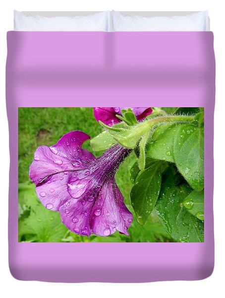 Duvet Cover featuring the photograph Wave Petunia by Betty-Anne McDonald