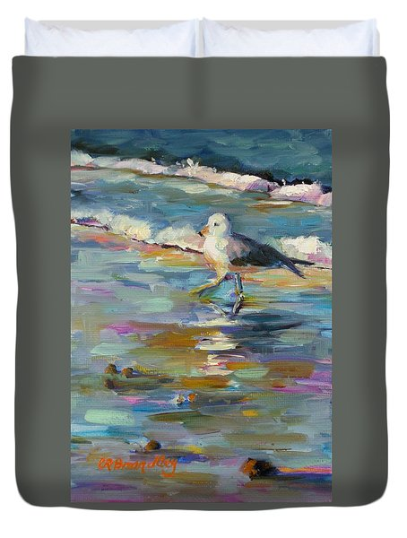 Duvet Cover featuring the painting Wave Runner by Chris Brandley