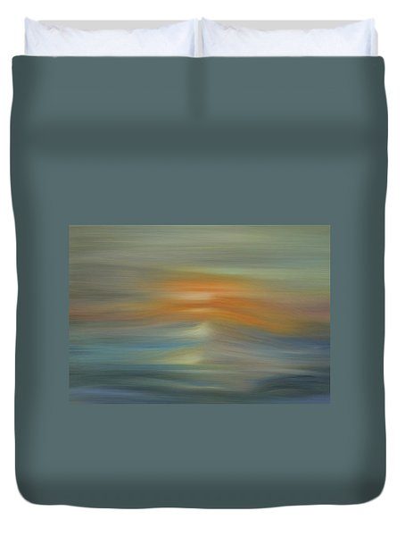 Wave Swept Sunset Duvet Cover by Dan Sproul