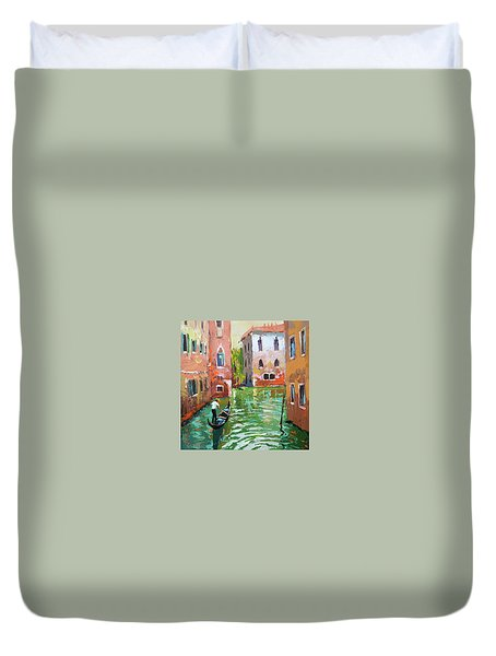 Wave Under The Oars Of The Gondola. Duvet Cover