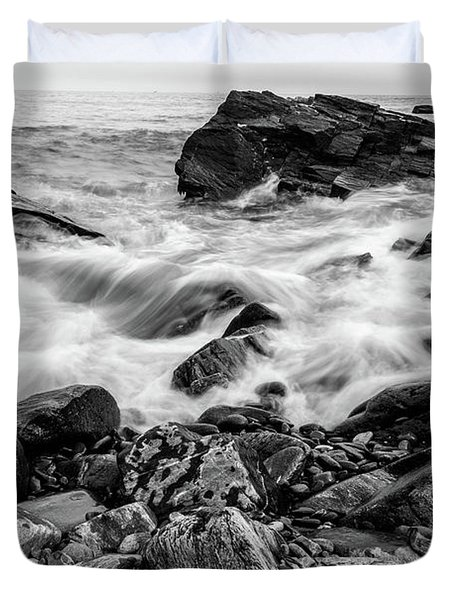 Waves Against A Rocky Shore In Bw Duvet Cover