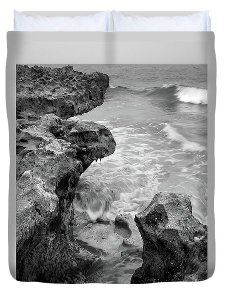 Waves And Coquina Rocks, Jupiter, Florida #39358-bw Duvet Cover