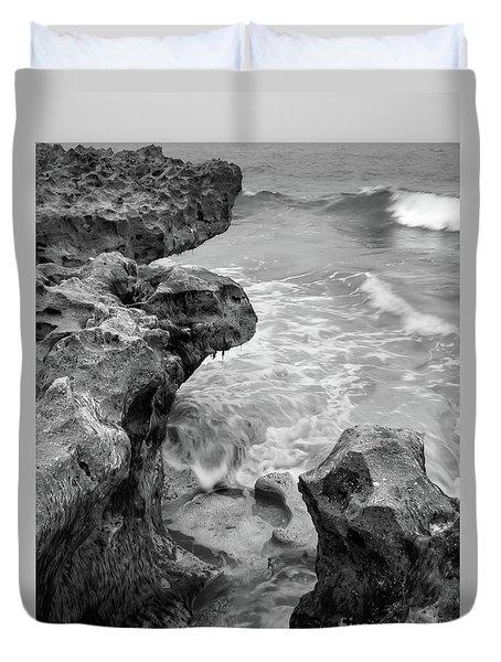 Waves And Coquina Rocks, Jupiter, Florida #39358-bw Duvet Cover