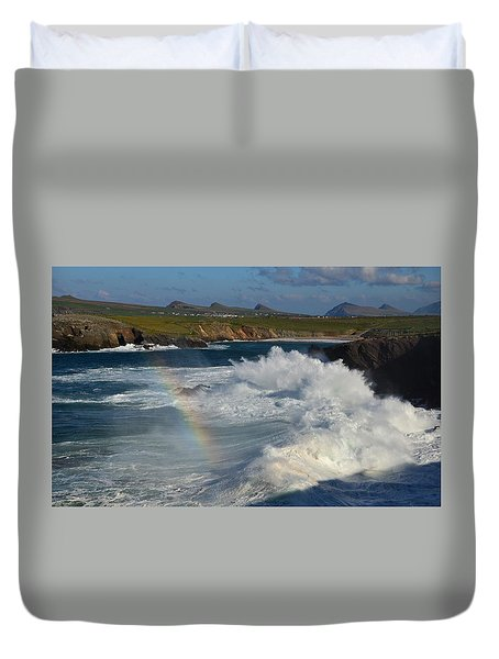 Waves And Rainbow At Clogher Duvet Cover