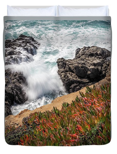 Waves And Rocks At Soberanes Point, California 30296 Duvet Cover