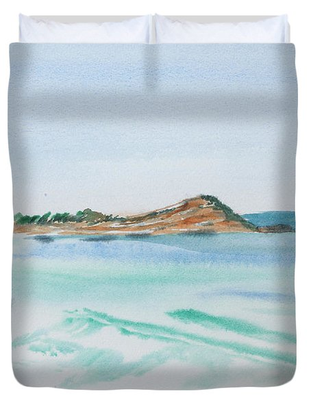 Waves Arriving Ashore In A Tasmanian East Coast Bay Duvet Cover