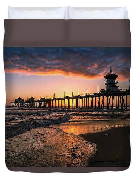 Waves At Sunset Duvet Cover