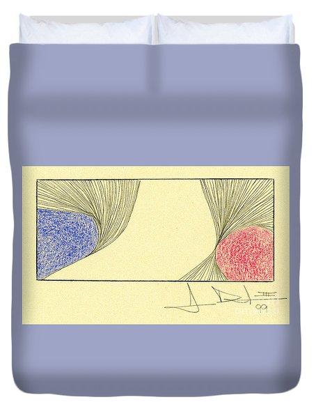 Waves Blue Red Duvet Cover