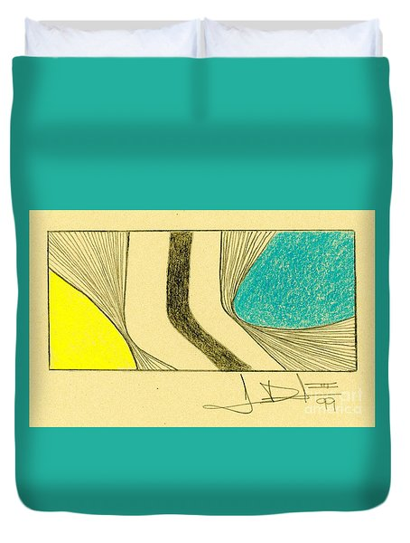 Waves Blue Yellow Duvet Cover
