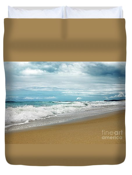 Duvet Cover featuring the photograph Waves Clouds And Sand By Kaye Menner by Kaye Menner