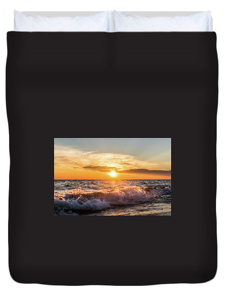 Waves Crashing With Suset Duvet Cover
