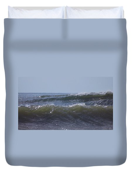 Waves In A Set Duvet Cover by John Wartman