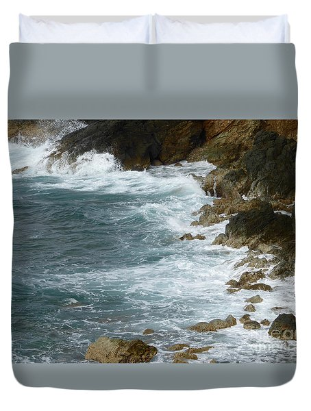 Waves Lashing Rocks Duvet Cover