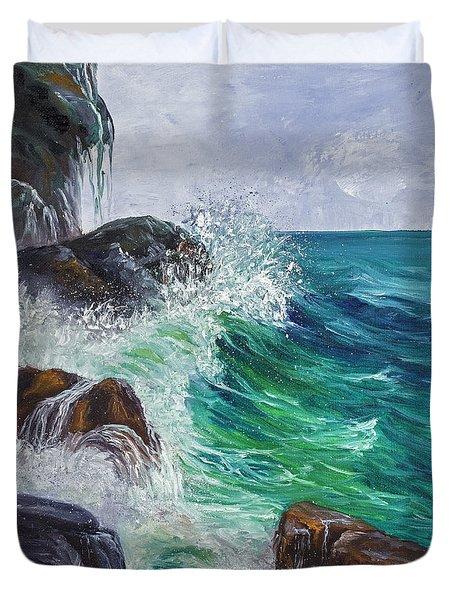 Waves On Maui Duvet Cover