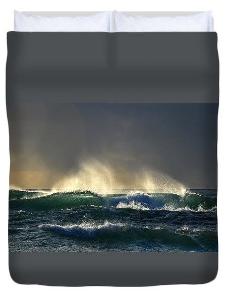 Waves, Sun And Moody Sky Duvet Cover