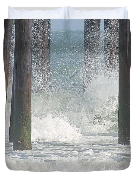 Waves Under The Pier Duvet Cover
