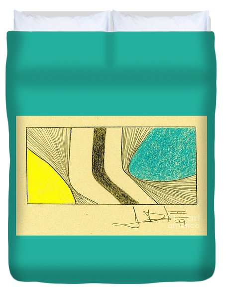 Waves Yellow Blue Duvet Cover