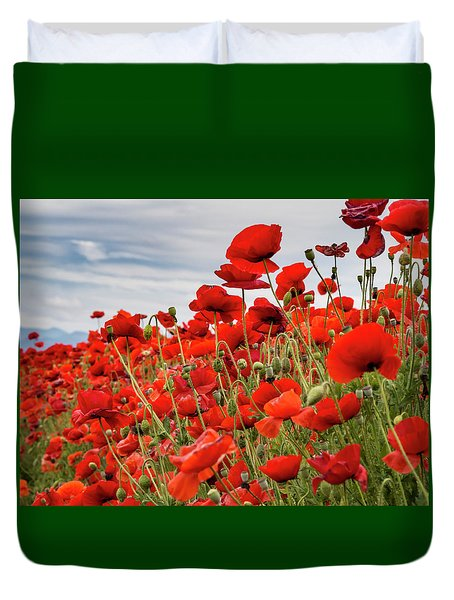 Waving Red Poppies Duvet Cover