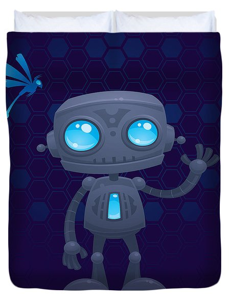 Waving Robot Duvet Cover by John Schwegel