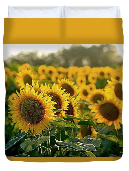 Waving Sunflowers In A Field Duvet Cover