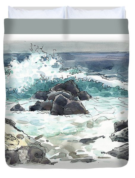 Duvet Cover featuring the painting Wawaloli Beach, Hawaii by Judith Kunzle