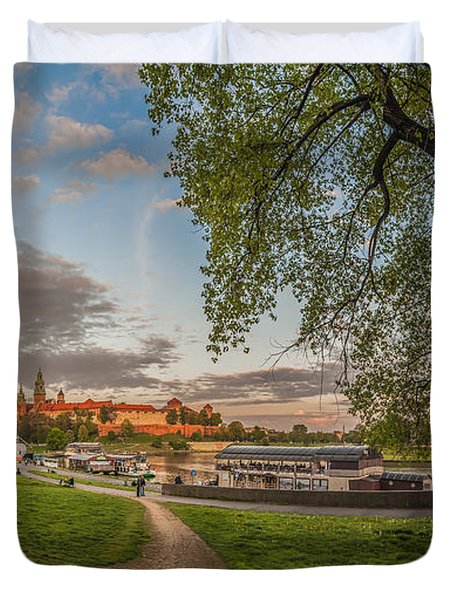 Wawel Royal Castle Seen From Vistula Bank In 16x9 Duvet Cover by Julis Simo