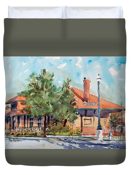 Waxachie Train Station Duvet Cover