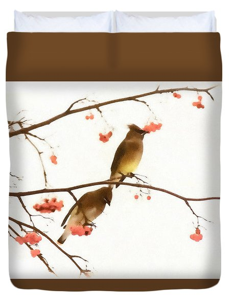 Waxwing Wonders Duvet Cover by Andrea Kollo