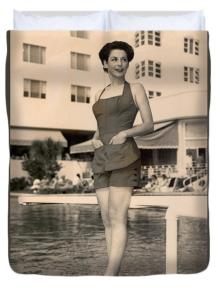 Way Back Then At The Fontainebleau In Miami Beach Duvet Cover