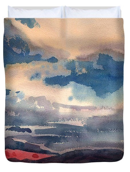 Duvet Cover featuring the painting Way West by Donald Maier