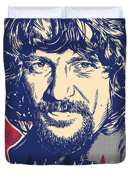 Waylon Jennings Pop Art Duvet Cover by Jim Zahniser