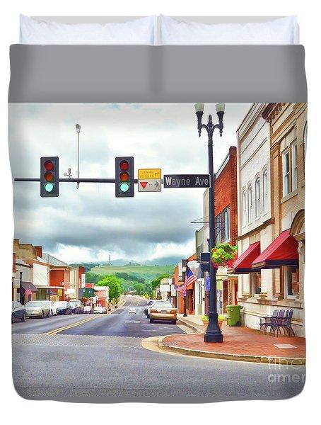 Duvet Cover featuring the photograph Wayne Avenue - Downtown Waynesboro Virginia - Art Of The Small Town by Kerri Farley