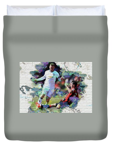 Wayne Rooney Street Art Duvet Cover by Don Kuing
