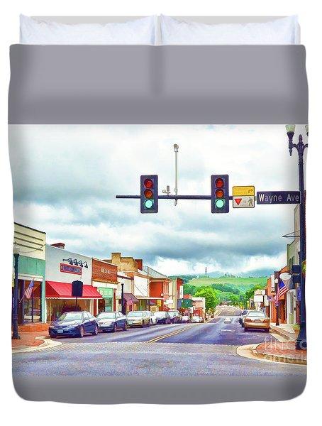Duvet Cover featuring the photograph Waynesboro Virginia - Art Of The Small Town by Kerri Farley