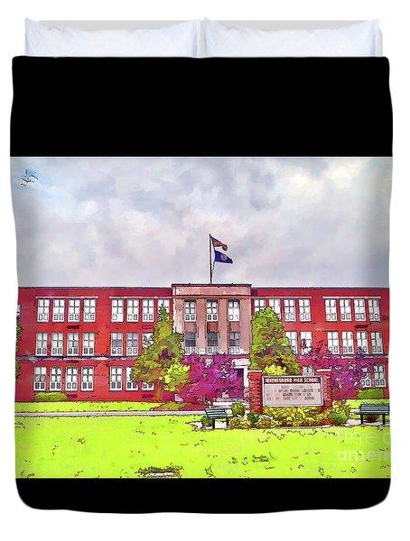 Duvet Cover featuring the photograph Waynesboro Virginia High School by Kerri Farley
