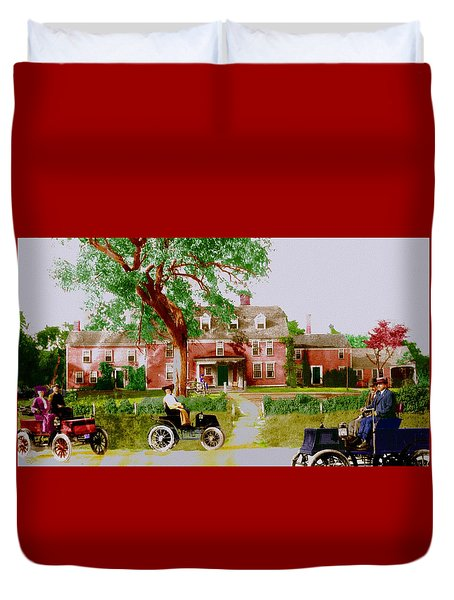 Wayside Inn With Autos Duvet Cover