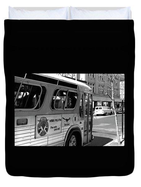 Wbru-fm Bus Sign, 1975 Duvet Cover