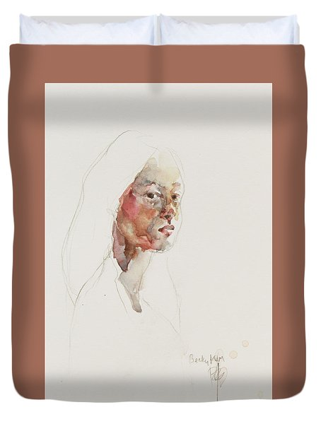 Wc Mini Portrait 3             Duvet Cover by Becky Kim