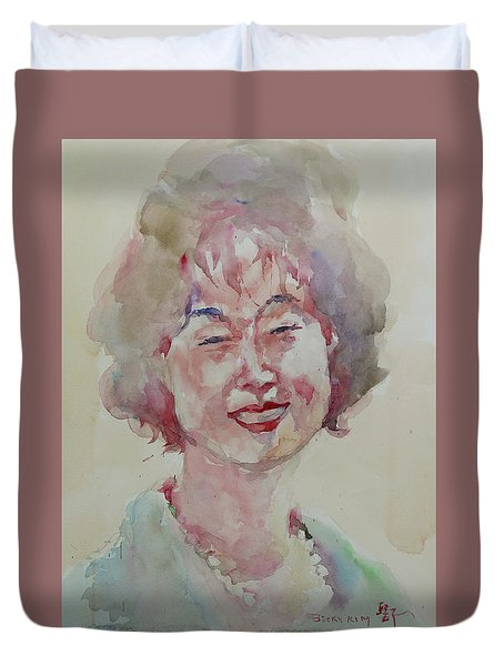 Wc Portrait 1627 My Sister Hyunju Duvet Cover by Becky Kim