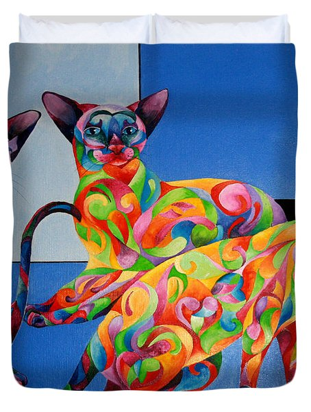 We Are Siamese If You Please Duvet Cover by Sherry Shipley
